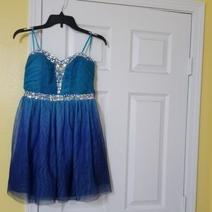 AS U WISH Party straples Blue tulle Dress 7 junior
